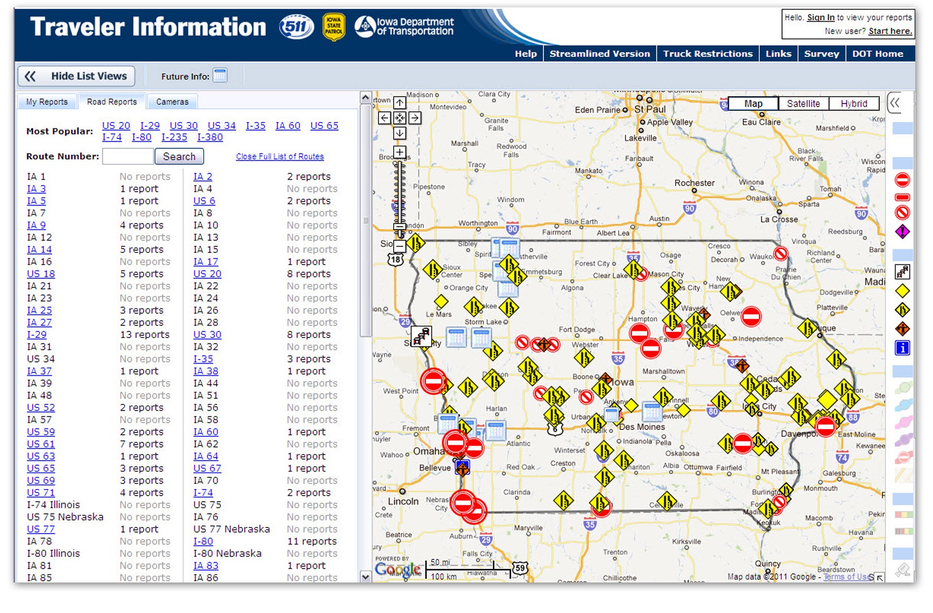 511 Information Iowa DOT – Road Conditions Map