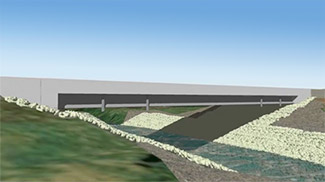 Massena Lateral Bridge Slide, 3D rendering of proposed bridge.