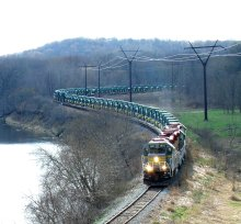Trainload of John Deere tractors