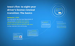 transition from a five- year to eight-year driver's license renewal process.