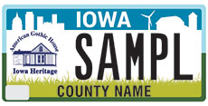 Iowa heritage license plate