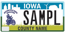 Motorcycle rider education license plate
