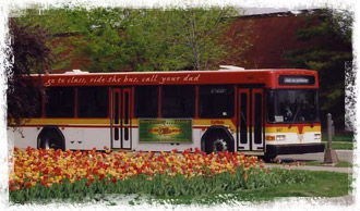 CyRide bus on the Iowa State campus
